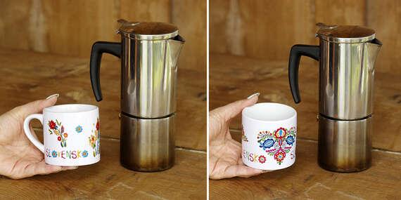 Hrnček espresso s ľudovým motívom, detský plastový hrnček alebo sada táciek pod poháre s ľudovým motívom/Slovensko