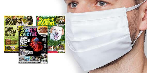 4 vydania časopisu Svet zvierat + kvalitné dvojvrstvové bavlnené rúško/Slovensko