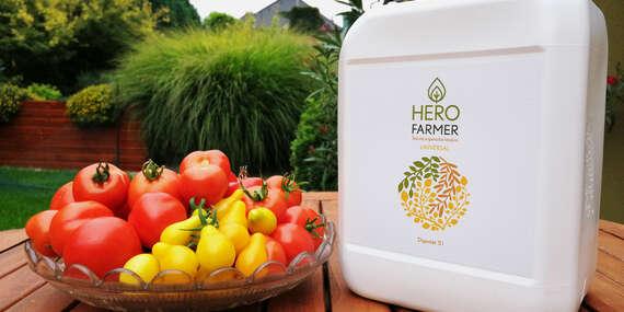 HERO FARMER, 5 l tekuté organické hnojivo čisto rastlinného pôvodu na trávnik, ovocie, zeleninu i kvety/Slovensko