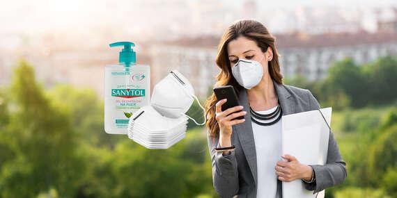 Jednorázové rúška, ochranné masky alebo respirátory + darček: dezinfekcia na ruky Sanytol/Slovensko