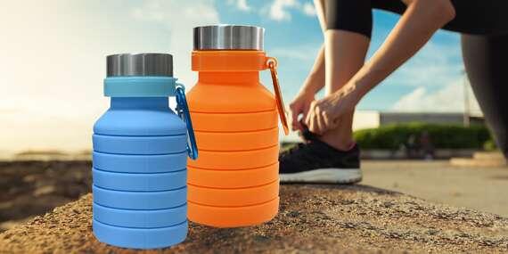 Praktická skladacia silikónová fľaša s objemom 300 – 550 ml v 5 farbách/Slovensko