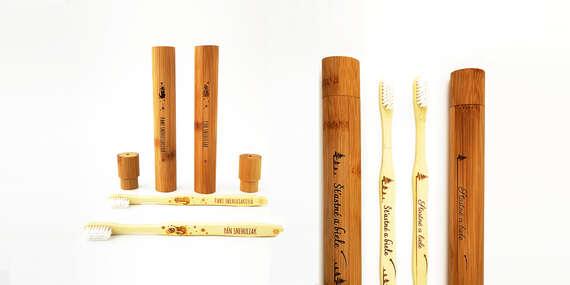 Vianočný set extra jemných bambusových zubných kefiek s tubou a originálnym venovaním/Slovensko