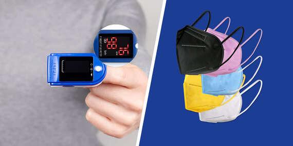 Pulzný oxymeter a balíčky s bielymi či farebnými respirátormi KN95/FFP2/Slovensko