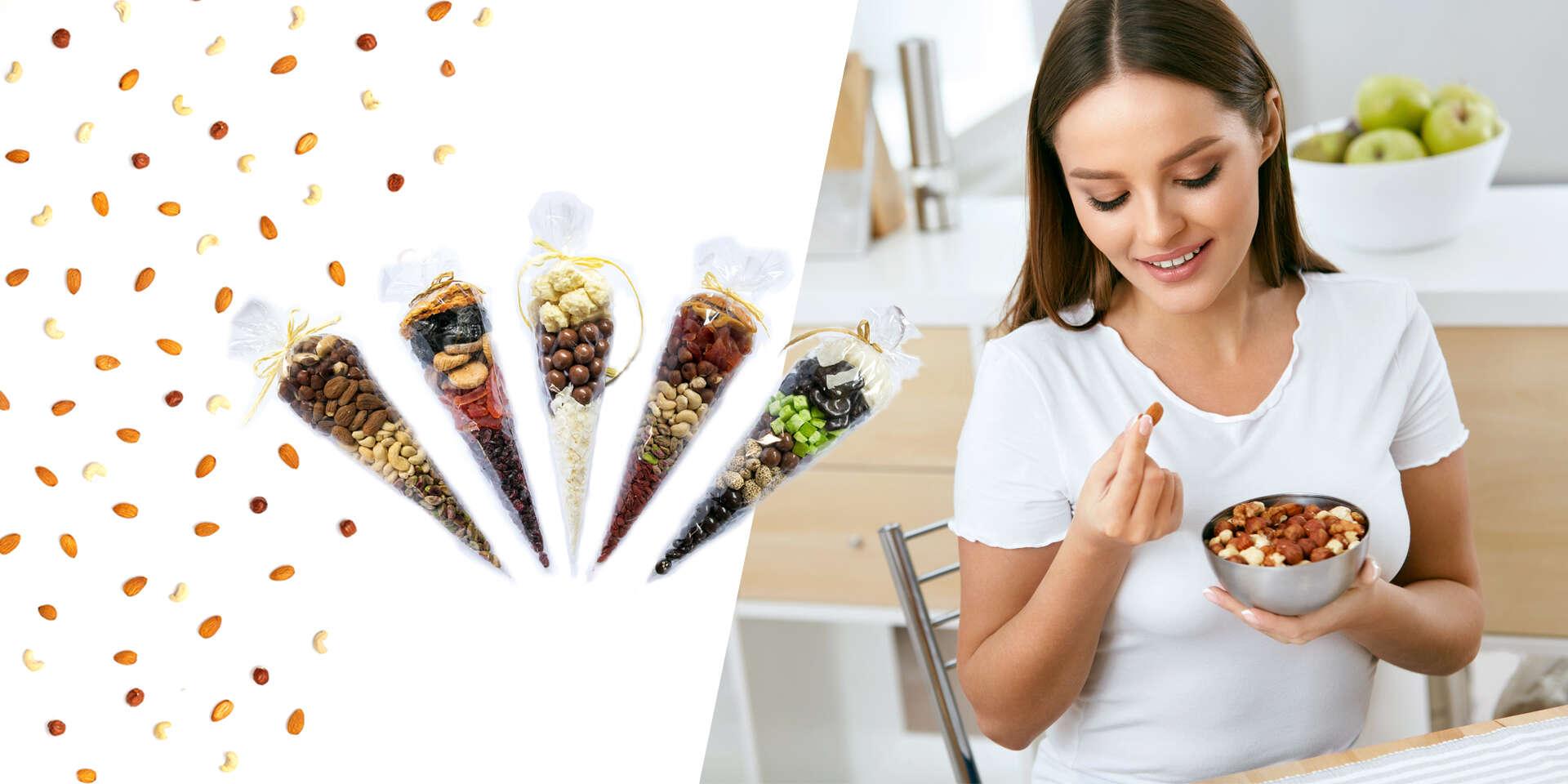 Kornútky plné chutného ovocia a zdravých orieškov (12 druhov)