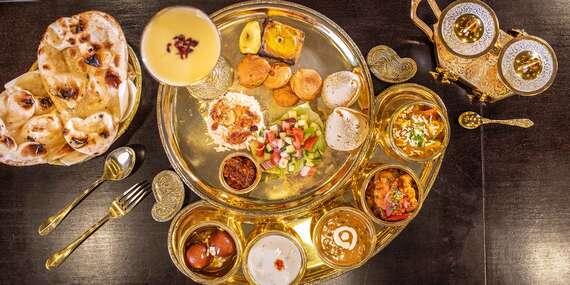 Degustačné Thali menu pre 2 osoby v indickej reštaurácií The Curry - 12 rôznych druhov jedla na zlatom podnose/Bratislava - Staré Mesto - Central Pasage