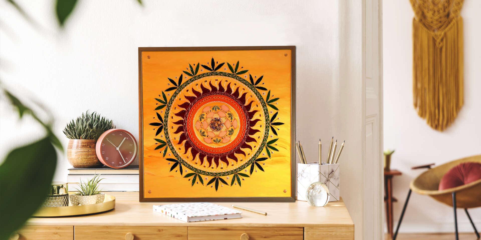 Ručne vytvorená mandala od Ľuba Slejzáka – vzácne dielo pre váš domov