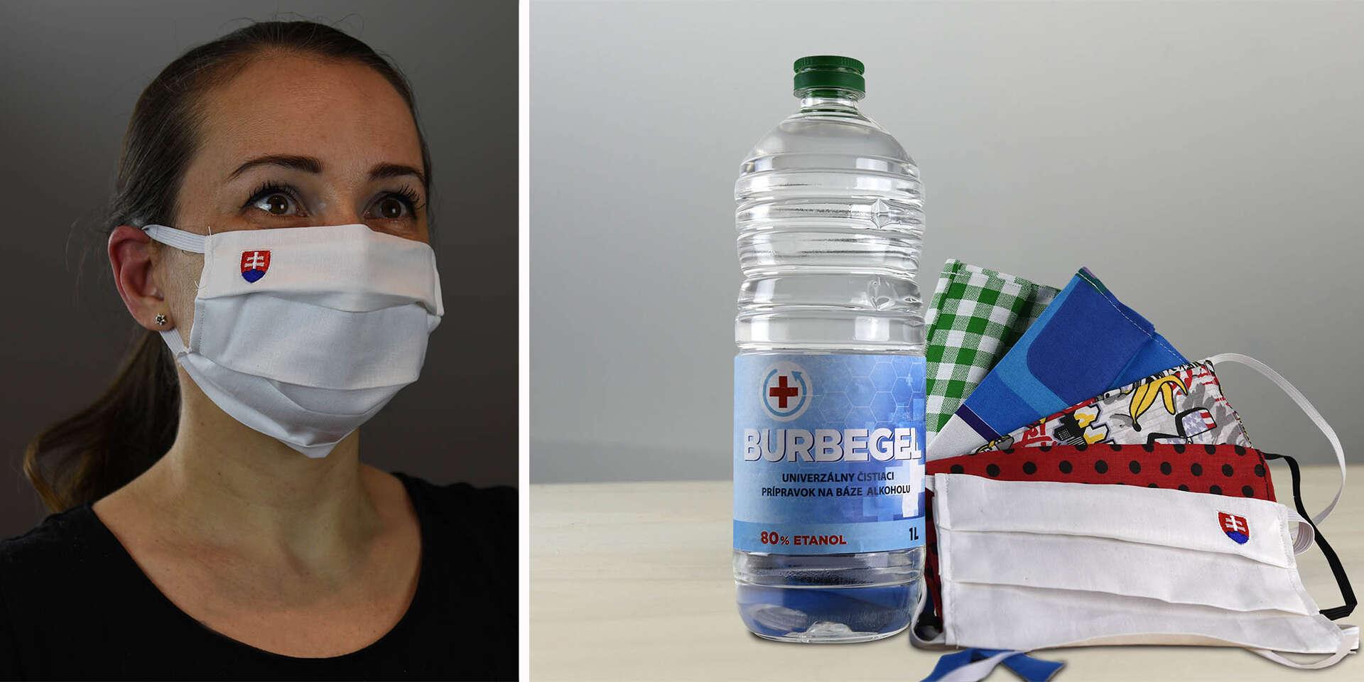 Exkluzívne ochranné rúško Slovensko alebo balíček rúšok a 1 liter dezinfekcie s doručením do 24 hodín kuriérom v cene