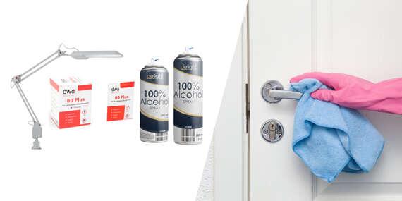 100 % alkohol sprej, utierky na dezinfekciu alebo dezinfekčný set lampa + UVC/Slovensko