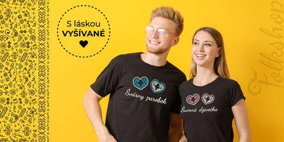 Dámske a pánske tričko s ľudovou výšivkou/Slovensko