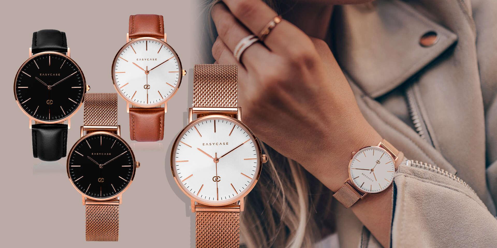 Exkluzívne náramkové hodinky Easycase s dvomi remienkami (pravá koža + kovový), doručenie kuriérom v cene do 48 hodín