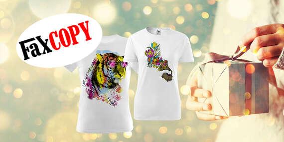 Nadpis: Originálne tričko s vlastnou potlačou, omaľovánkou alebo pre páry s osobným odberom ZADARMO až v 39 predajniach FaxCOPY/Slovensko