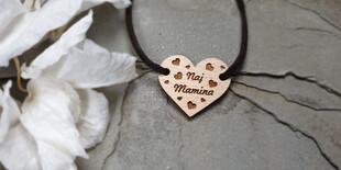 Personalizovaný náramok s dreveným bukovým srdiečkom