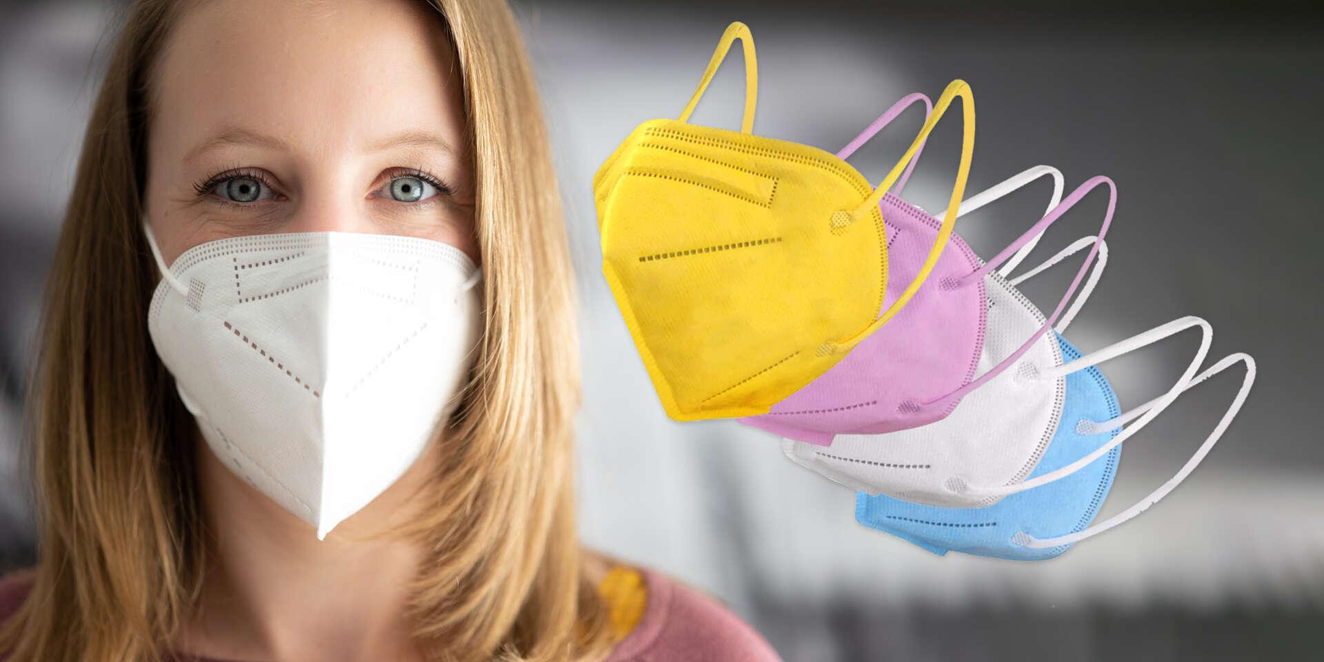 Farebné a biele KN95/FFP2 respirátory bez výdychového ventilu