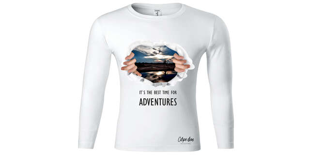 Unisex biele tričká s dlhým rukávom, na výber bavlnené alebo funkčné.