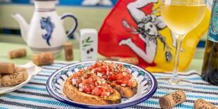 1x 120 g bruschetta – opečený chlieb, paradajky, červená cibuľka, olej, soľ, oregano