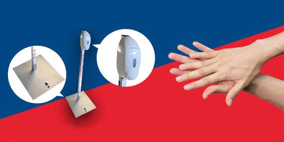 Dezinfekčný stĺpik na ruky s dávkovačom - zabráňte šíreniu vírusu vo vašich priestoroch/Žilina, Slovensko