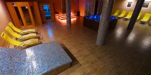 Wellness je vybavené vírivkou a troma saunami: fínskou, infračervenou, parnou saunou a odpočívarňou