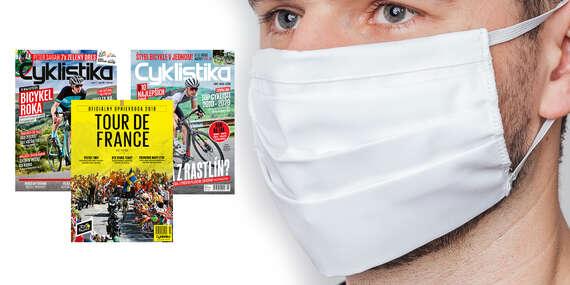 Dvojročné predplatnému časopisu Cyklistika + oficiálny sprievodca Tour de France + kvalitné dvojvrstvové bavlnené rúško/Slovensko