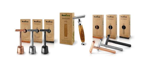 Ekologické holiace strojčeky Bambaw ideálna alternatíva k jednorazovým žiletkám, bambusové alebo kovové/Slovensko