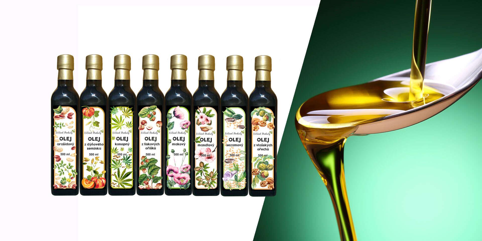 Oleje vyrobené v Čechách - makový, mandľový, tekvicový, sezamový alebo z vlašských orechov