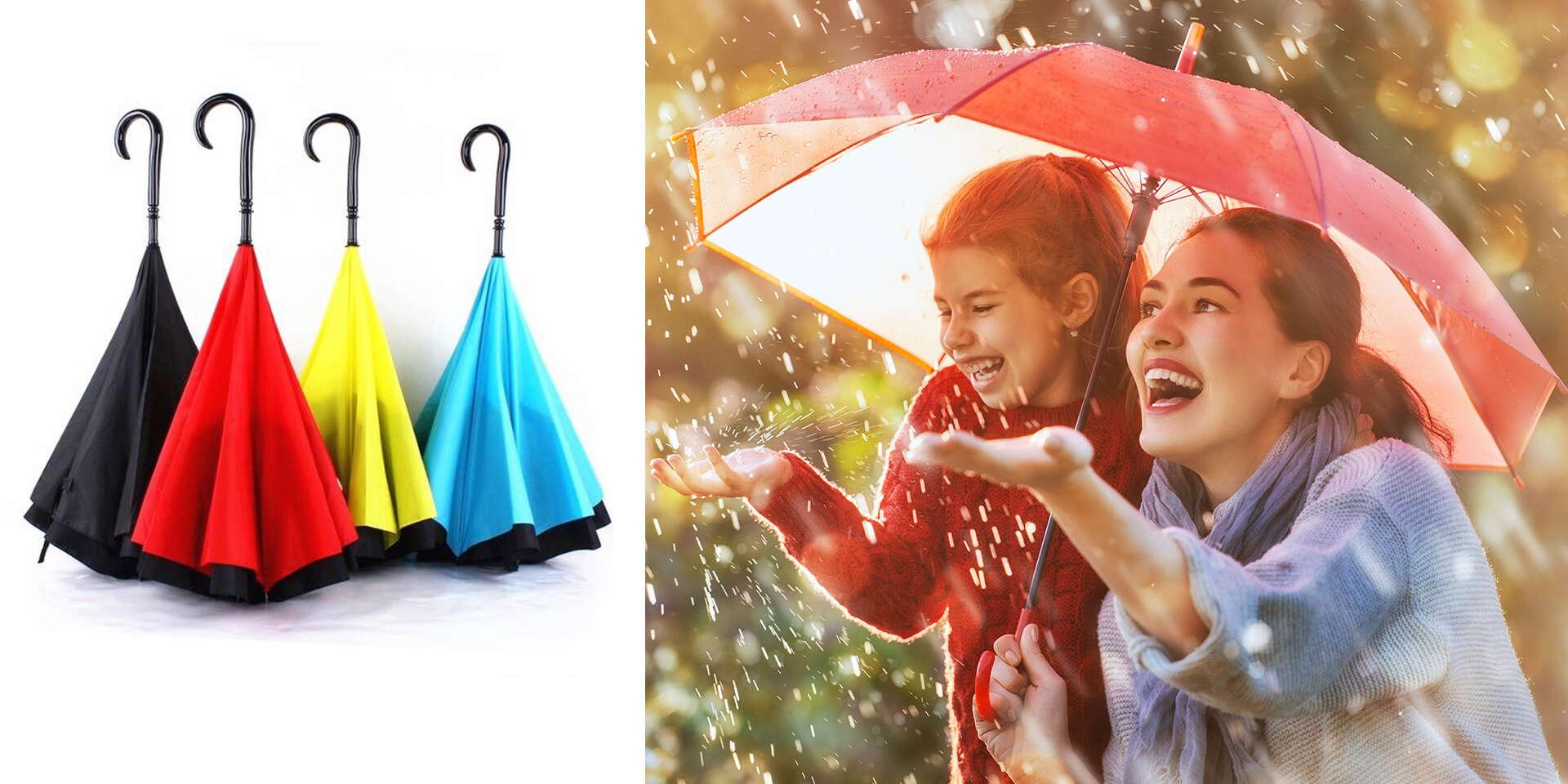 Obrátený dáždnik, ktorý vietor nezničí – Kazbrella