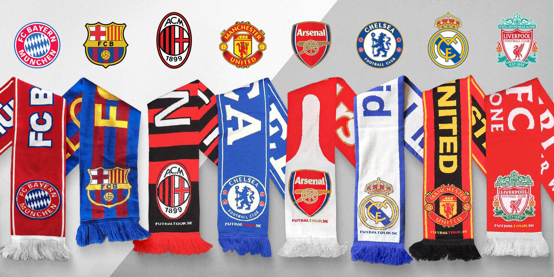 Originálne futbalové šály FC Barcelona, FC Liverpool a ďalších klubov