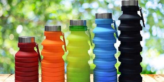 Praktická skládací silikonová lahev o objemu 300 až 550 ml v 5 barvách/ČR