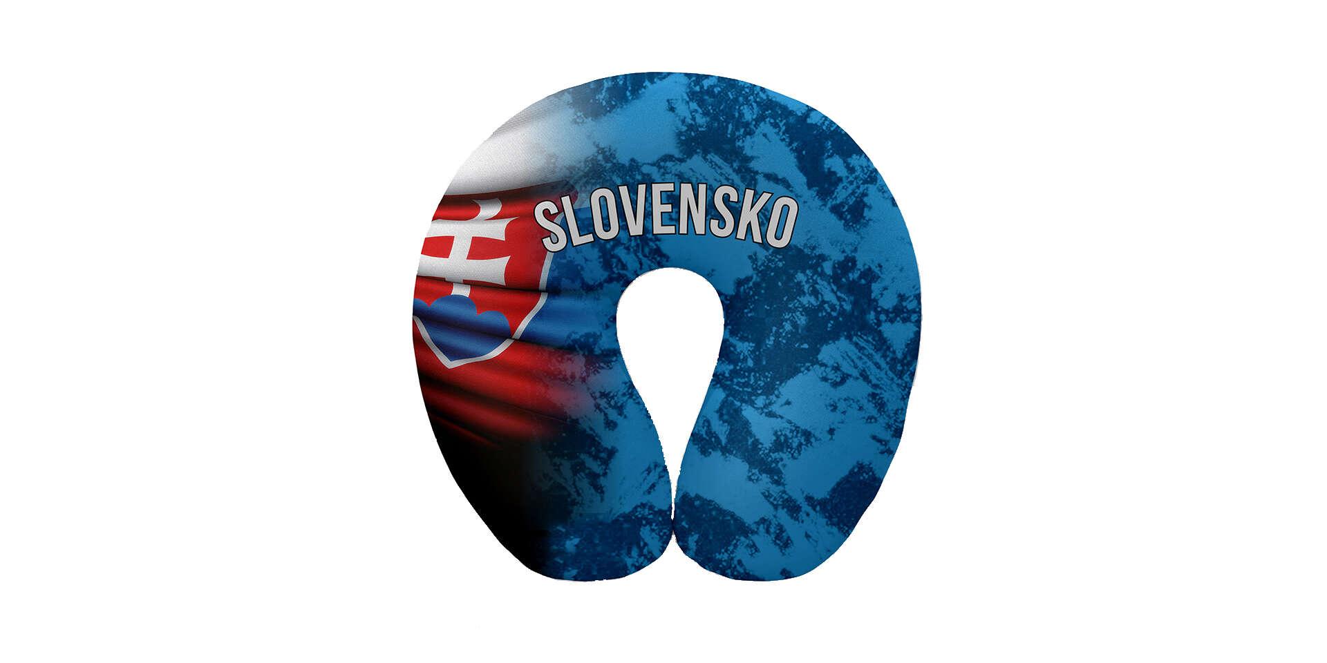 Pohodlný cestovný vankúš vo farbách slovenskej trikolóry