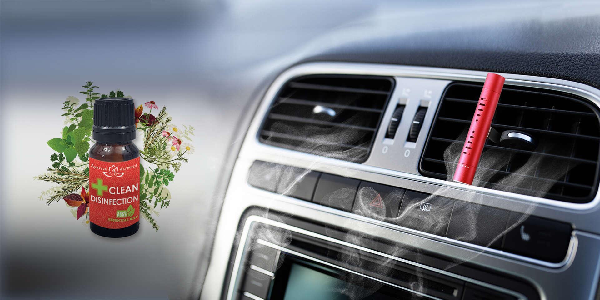 Aroma difuzér a olejček s dezinfekčným účinkom do auta