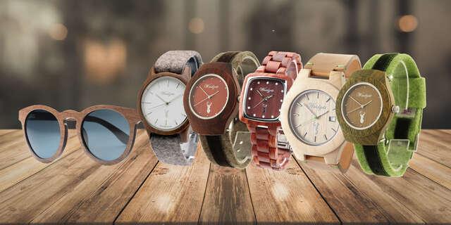 Pánske, dámske drevené hodinky a slnečné okuliare – štýlový návrat k prírode