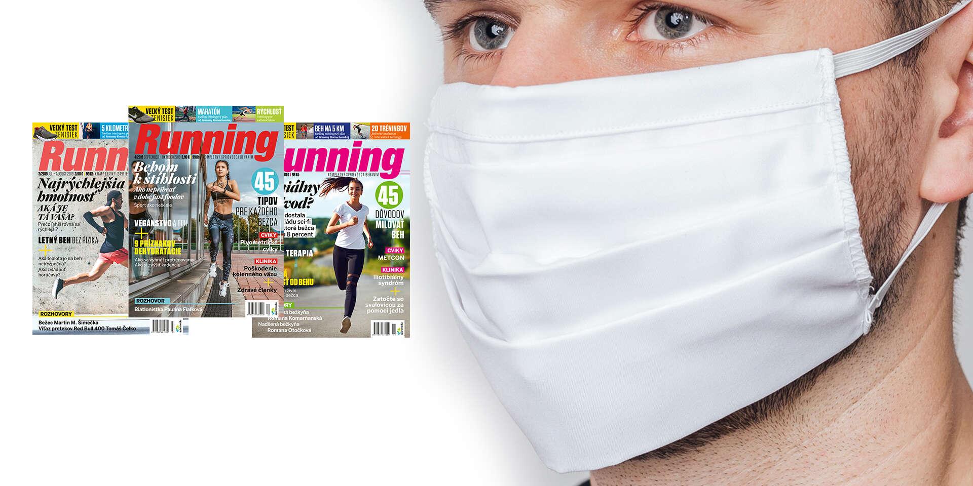 Ročné predplatné časopisu Running + kvalitné dvojvrstvové bavlnené rúško