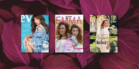 Ročné predplatné štýlových ženských mesačníkov EMMA, EVA a MADAM EVA/Slovensko