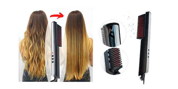 Novinka: Žehliaca kefa na vlasy s ionizátorom, ktorá sa používa jednoducho ako hrebeň/Slovesnko