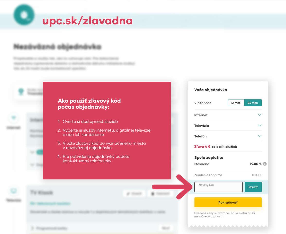 Zľava 2 € mesačne z ceny UPC Digitálnej TV alebo UPC Internetu n...