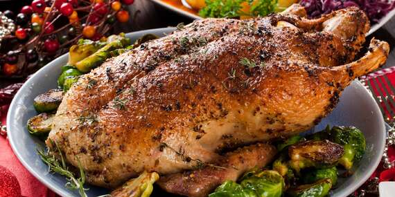 Pečená kachna na medu a víně s knedlíky a zelím až pro 4 osoby v restauraci Kovářská/Praha 9 - Liben