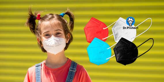 Farebné detské respirátory KN95/FFP2 (biela, čierna, modrá alebo oranžová)/Slovensko