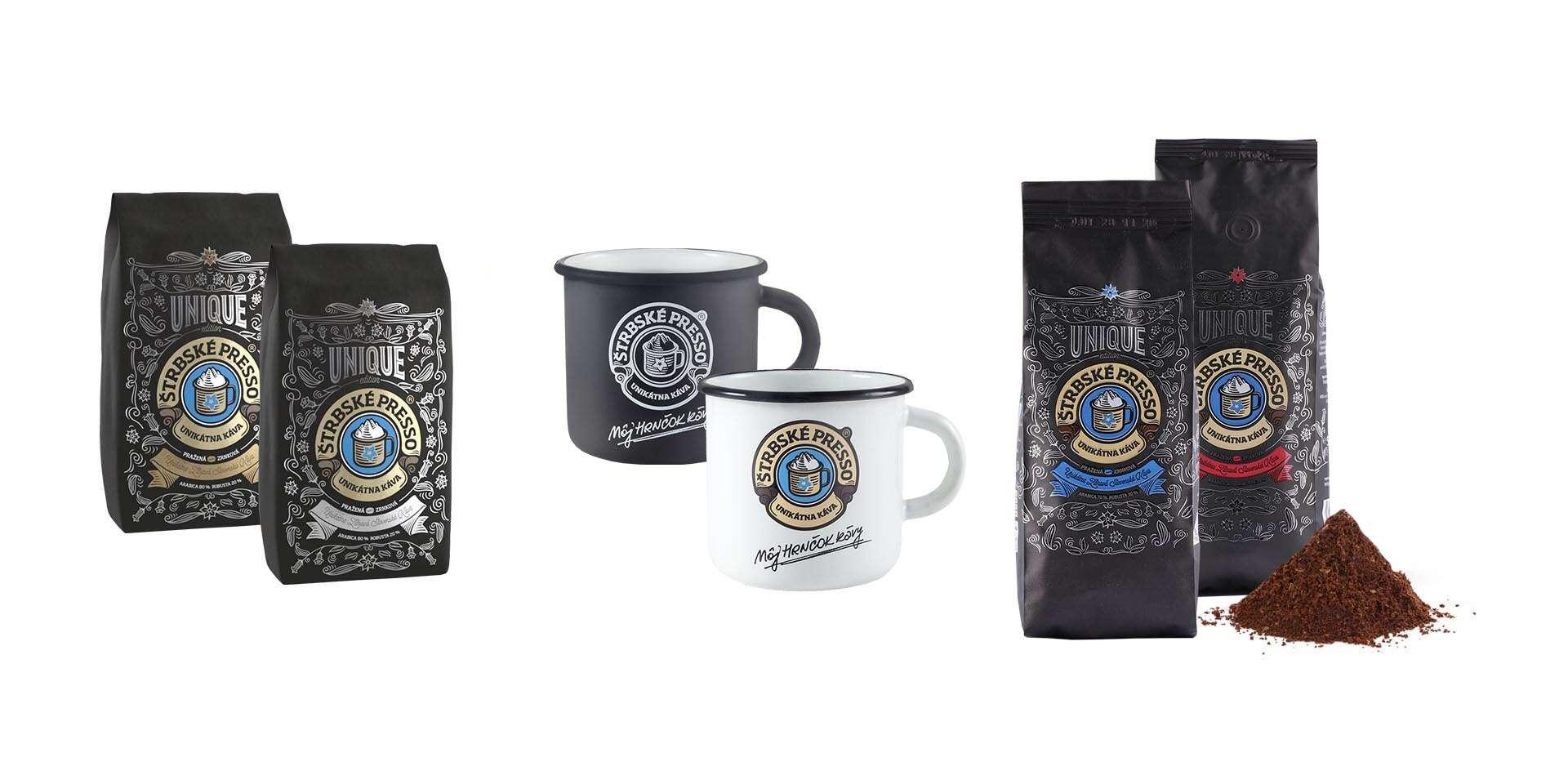 Káva Štrbské Presso Unique + hrnčok v hodnote 11,49 € alebo ponožky v hodnote 7,90 € ako bonus pri objednávke kila a viac kávy