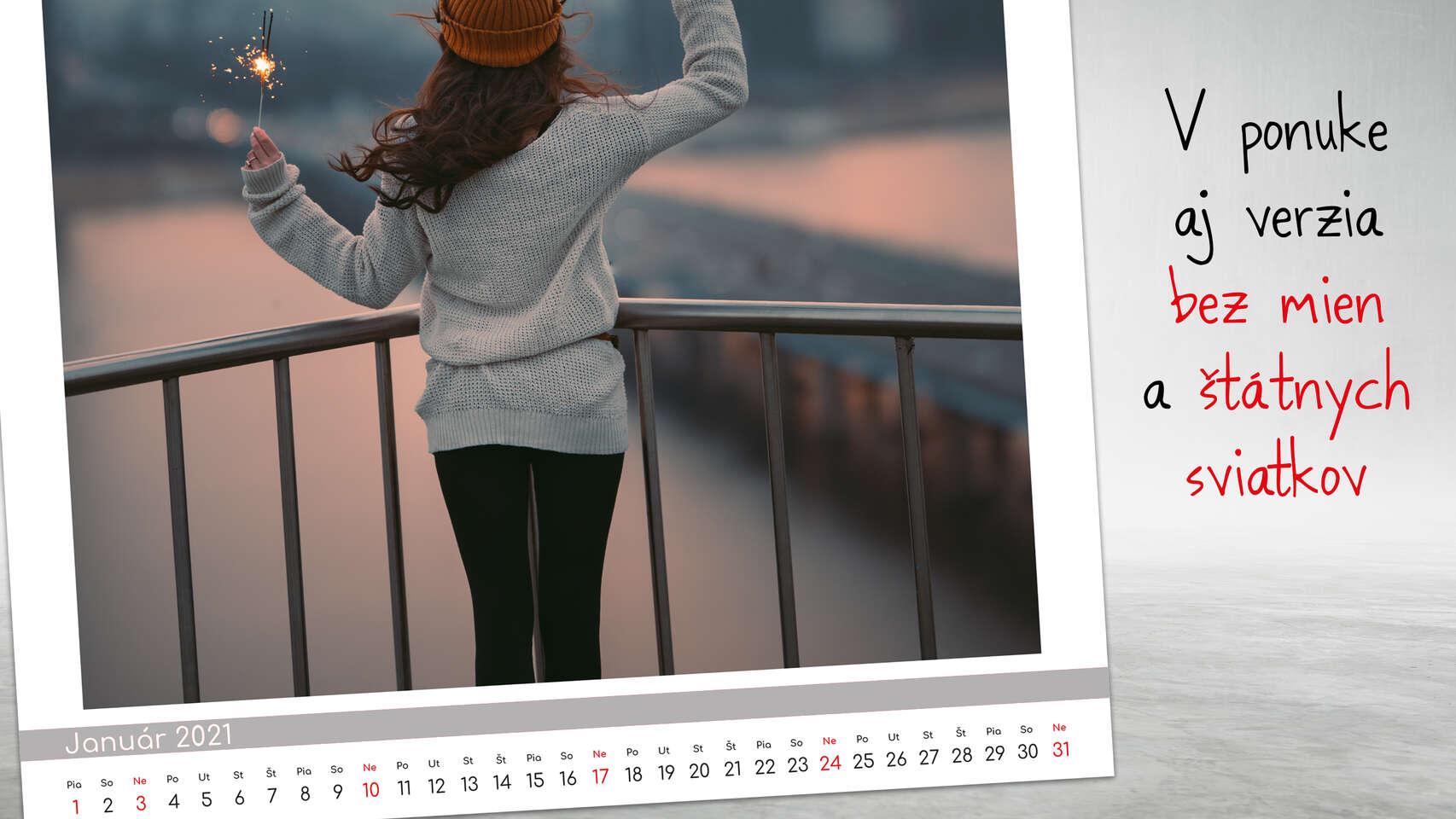 Nástenný kalendár s vlastnými fotografiami so sviatkami a menami ...