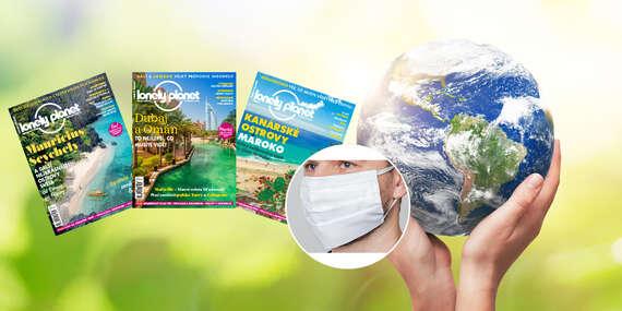 Magazín pre nadšencov cestovania - 6 vydaní časopisu Lonely Planet + kvalitné dvojvrstvové bavlnené rúško/Slovensko