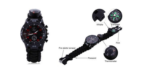 Paracord hodinky s nožom, zapaľovačom a píšťalkou/Slovensko