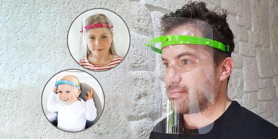 Slovenský výrobok: Ochranný štít pre dospelých a deti (2 kusy za cenu 1 ks) + respirátor FFP2 zdarma/Slovensko