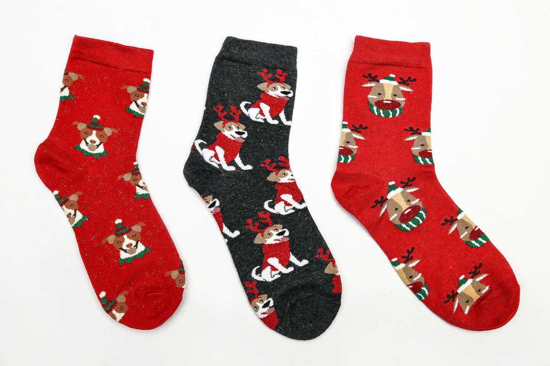 Veselé ponožky so zimnými motívmi – balenie 1 alebo 3 párov