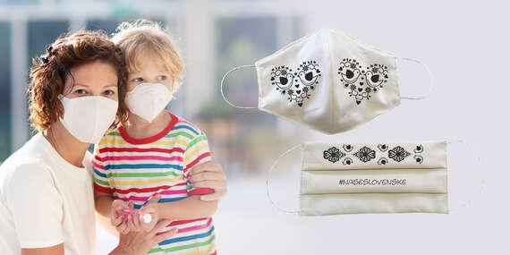 Štýlové bavlnené rúško pre dospelého alebo dieťa - chráňte seba aj okolie/Slovensko