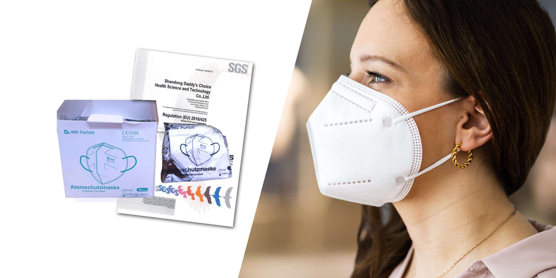 Ochranný respirátor FFP2 Purism bez výdychového ventilu (5 vrstiev)