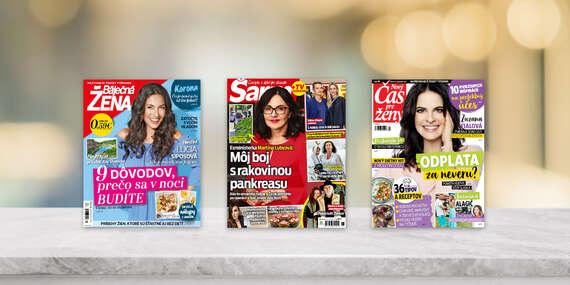 Ročné predplatné obľúbených týždenníkov BÁJEČNÁ ŽENA, ŠARM a NOVÝ ČAS PRE ŽENY/Slovensko