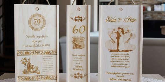 Drevená darčeková krabica na víno s laserovým gravírovaním/Slovensko