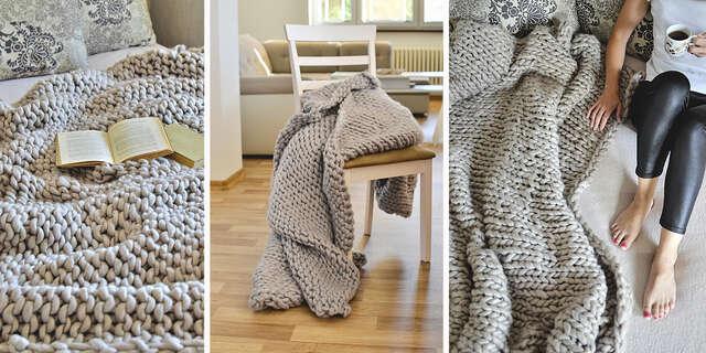 XXL pletená deka z extra pevnej priadze, ručne vyrobená