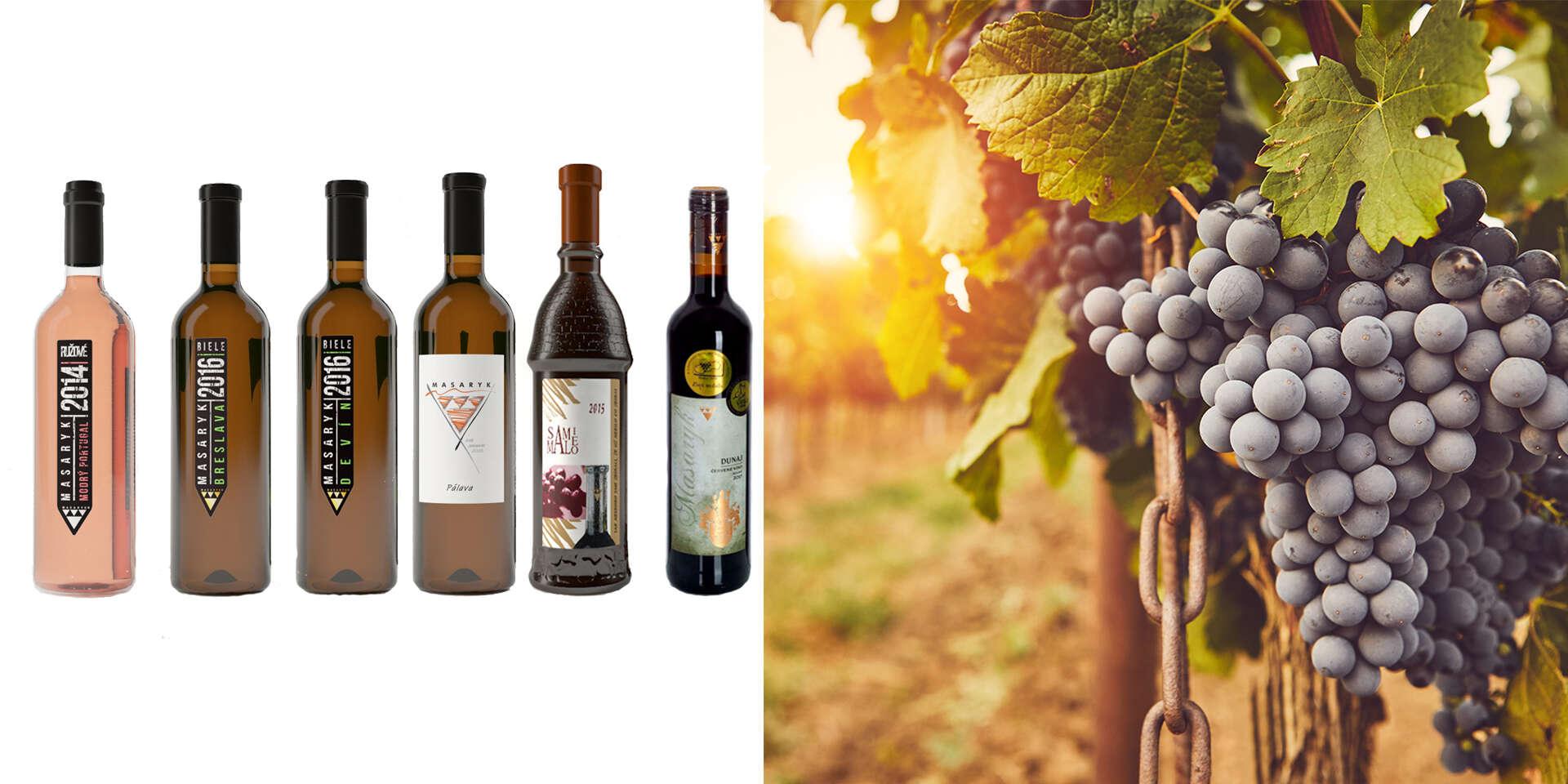 Balenie 6 kusov kvalitných vín Masaryk - bez chemikálií a rôznych prímesí