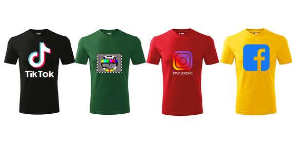 Tričko s potlačou Tik Tok, Monoskop, Instagram alebo Facebook zo 100 % bavlny s doručením do 48 hodín kuriérom v cene/Slovensko