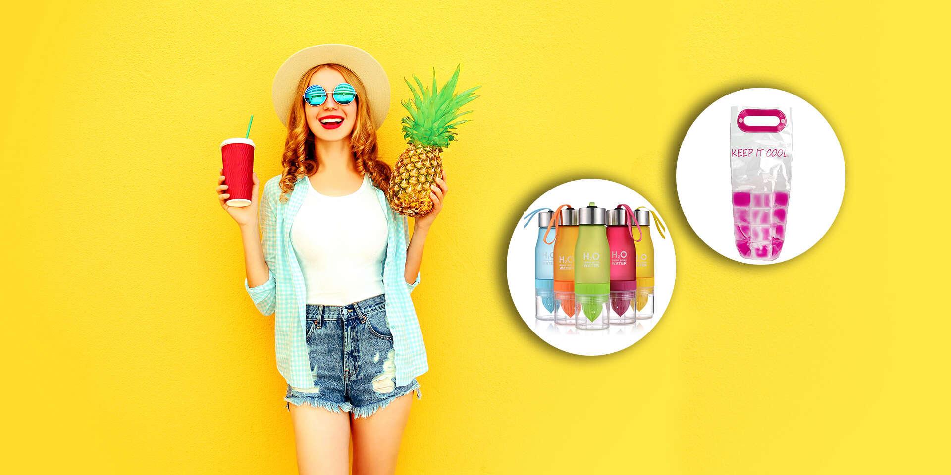 H20 fľaša s odšťavovačom na citrusy alebo termotaška na nápoje s gélom